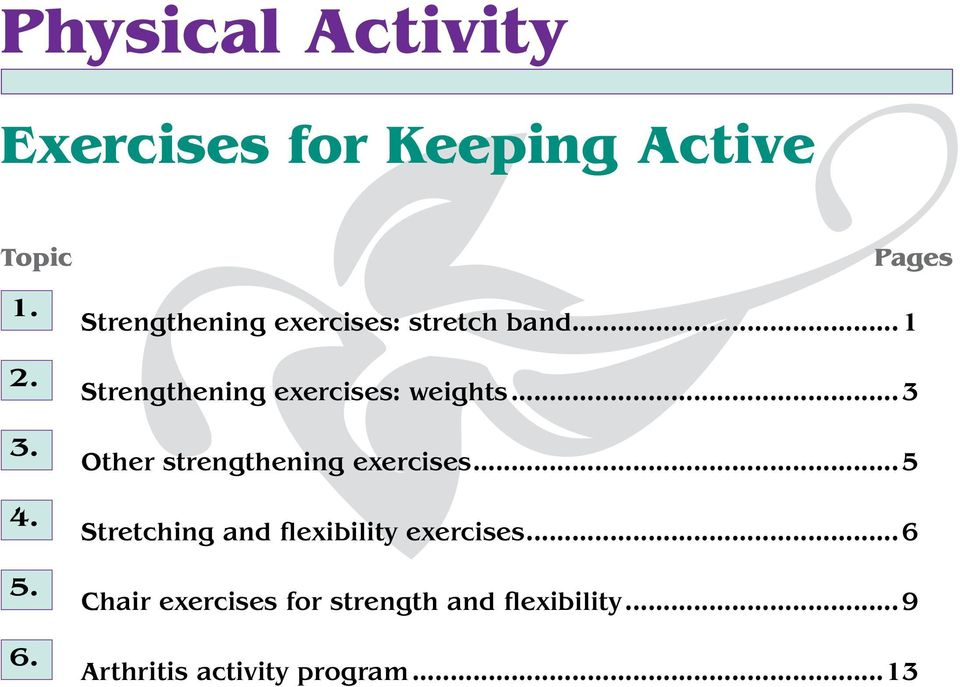 ..1 Strengthening exercises: weights...3 Other strengthening exercises.