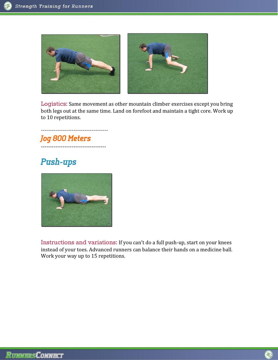 ------------------------------------- Jog 800 Meters ------------------------------------ Push-ups Instructions and