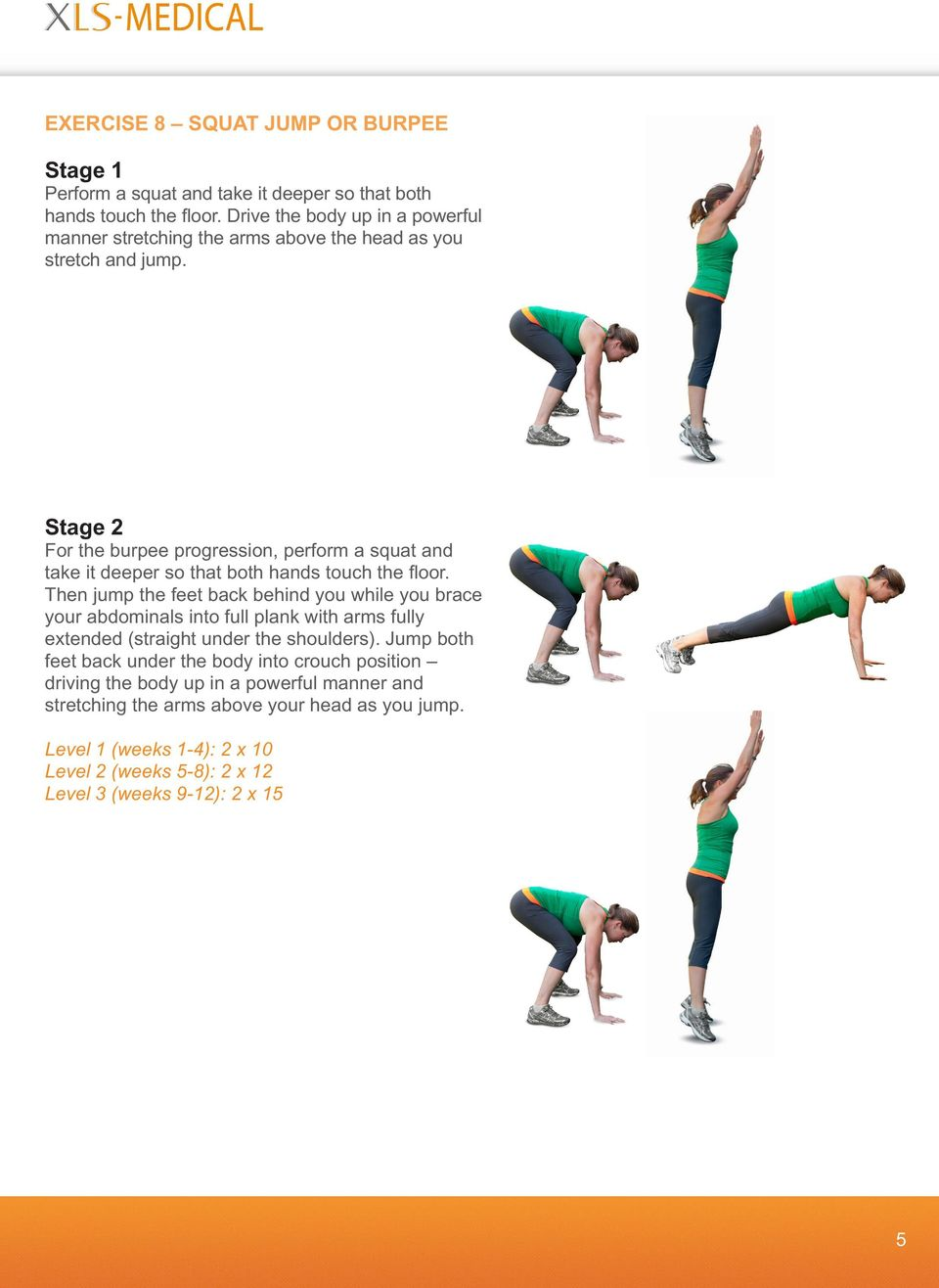 Stage 2 For the burpee progression, perform a squat and take it deeper so that both hands touch the floor.