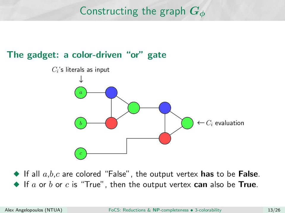 literals as input a b c C i evaluation If all a,b,c are colored False, the