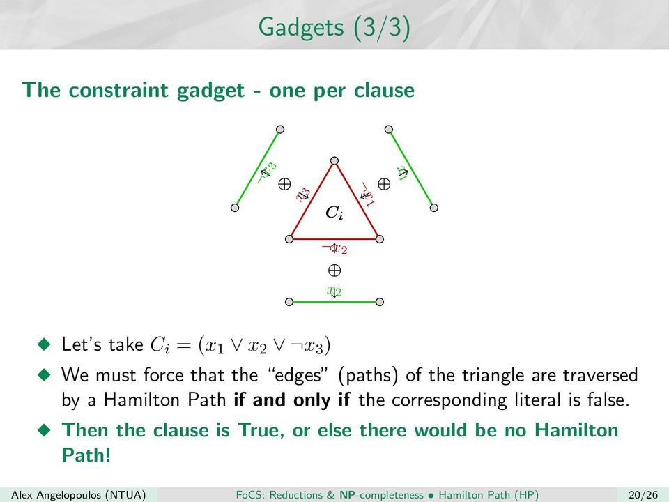 We must force that the edges (paths) of the triangle are traversed by a Hamilton Path if and only if