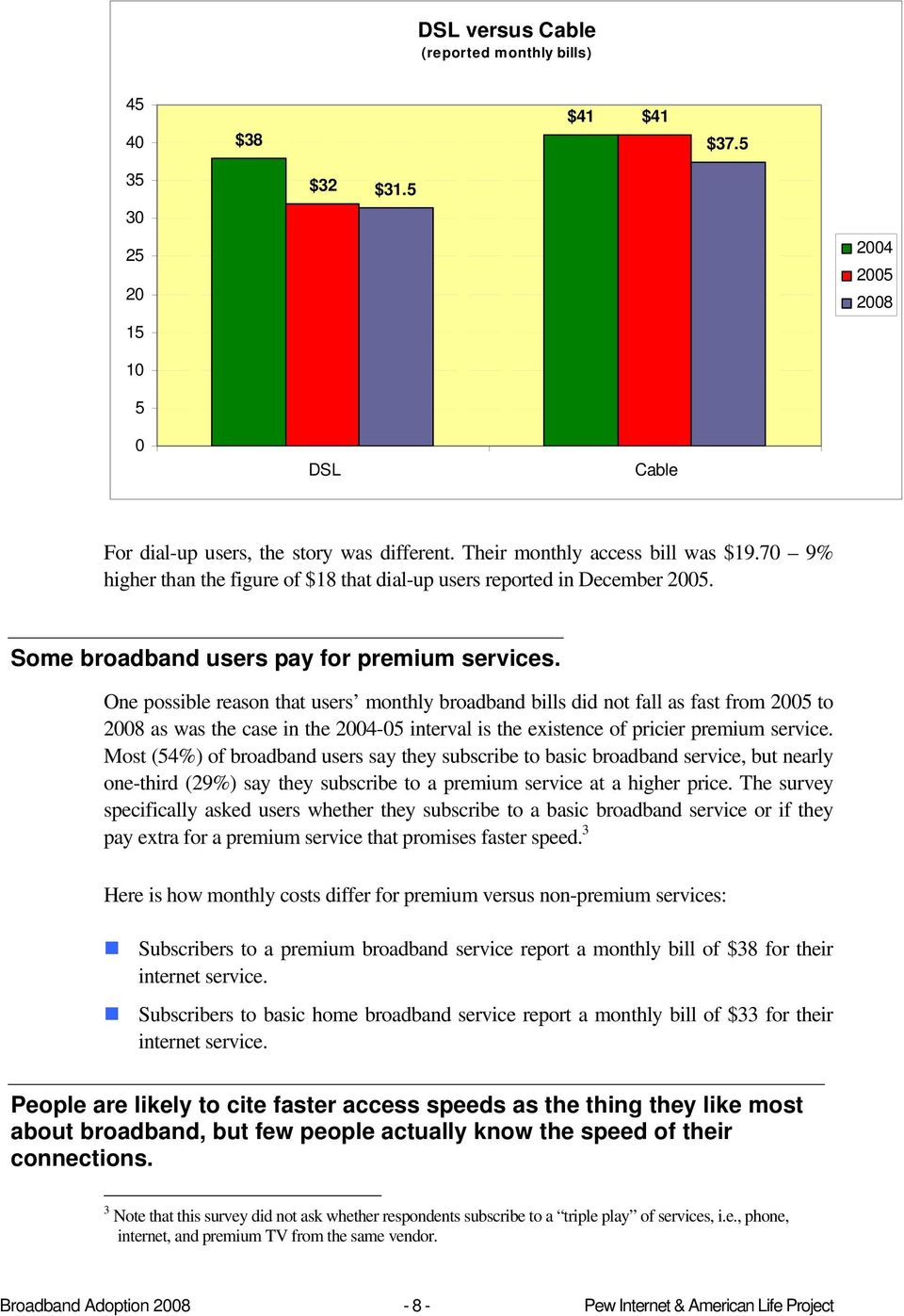 One possible reason that users monthly broadband bills did not fall as fast from 2005 to 2008 as was the case in the 2004-05 interval is the existence of pricier premium service.