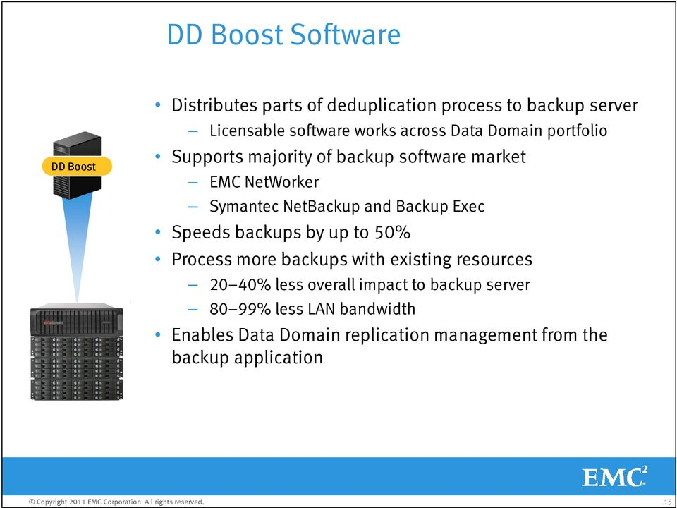 Backup Exec Speeds backups by up to 50% Process more backups with existing resources 20 40% less overall impact