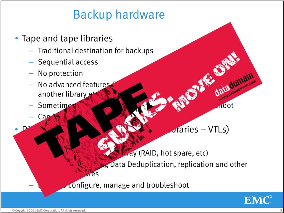 moved offsite Disk and disk libraries (Virtual Tape Libraries VTLs) Random access Protected by the storage array (RAID, hot spare,