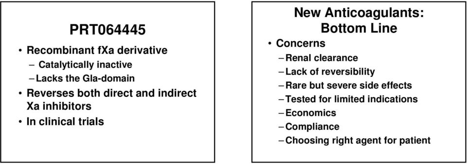 Anticoagulants: Bottom Line Concerns Renal clearance Lack of reversibility Rare but