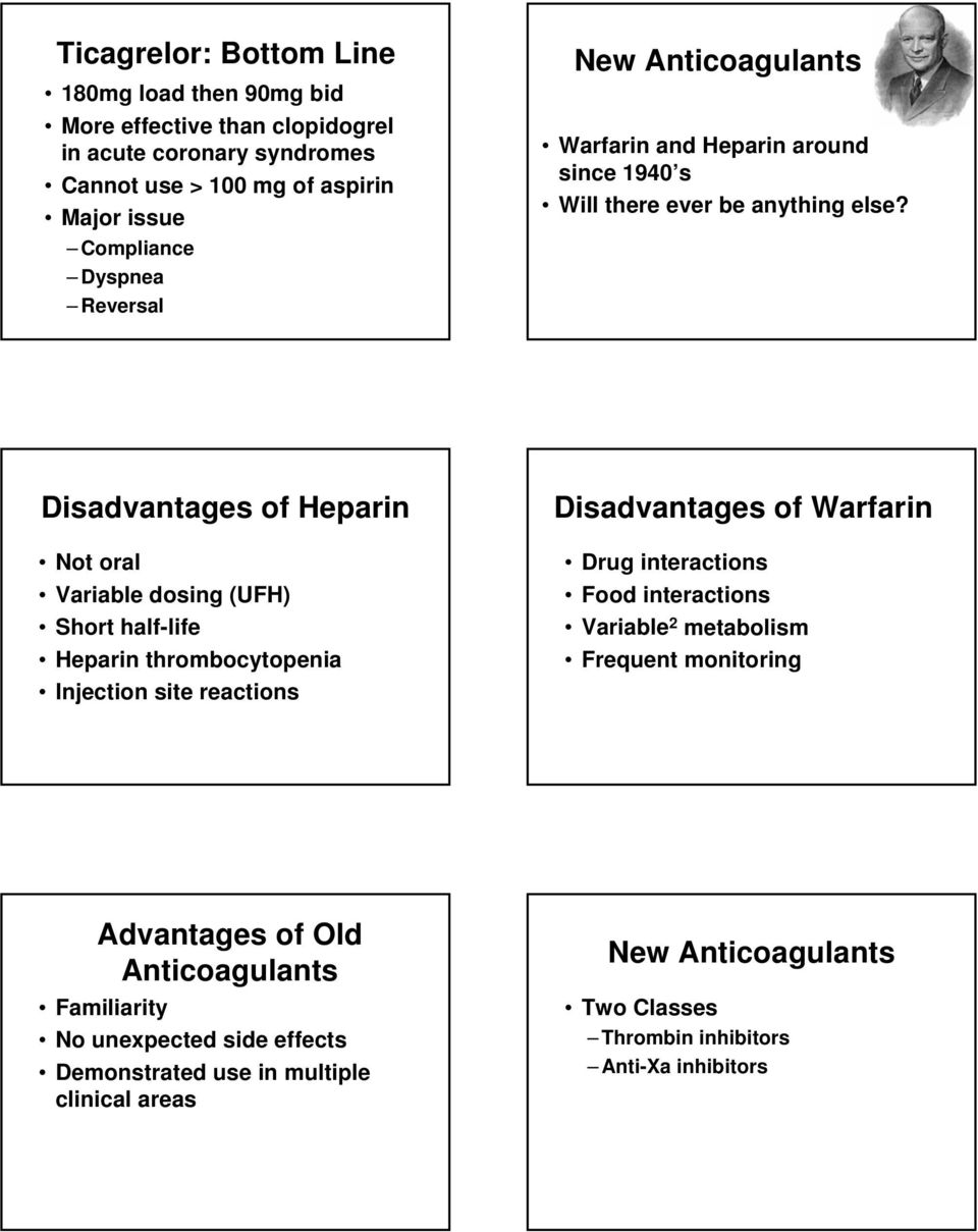 Disadvantages of Heparin Not oral Variable dosing (UFH) Short half-life Heparin thrombocytopenia Injection site reactions Disadvantages of Warfarin Drug interactions Food