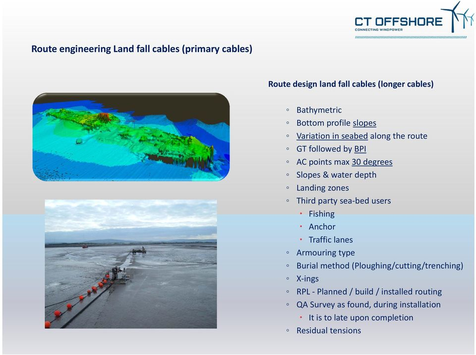 zones Third party sea bed users Fishing Anchor Traffic lanes Armouring type Burial method (Ploughing/cutting/trenching) X