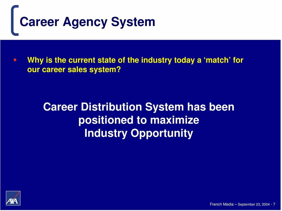 Career Distribution System has been positioned to