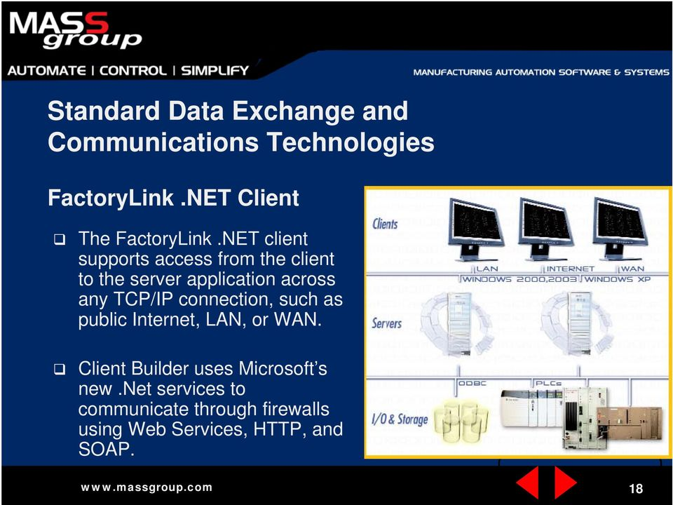 NET client supports access from the client to the server application across any TCP/IP
