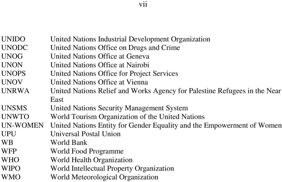 UNSMS United Nations Security Management System UNWTO World Tourism Organization of the United Nations UN-WOMEN United Nations Entity for Gender Equality and the Empowerment of