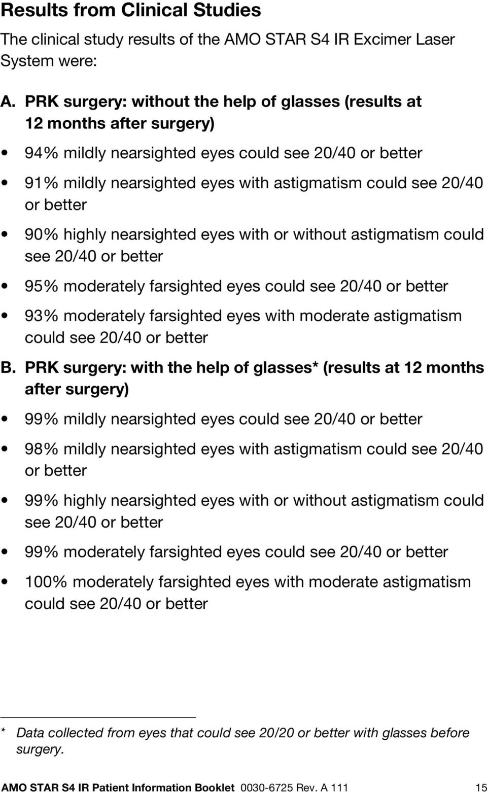 better 90% highly nearsighted eyes with or without astigmatism could see 20/40 or better 95% moderately farsighted eyes could see 20/40 or better 93% moderately farsighted eyes with moderate