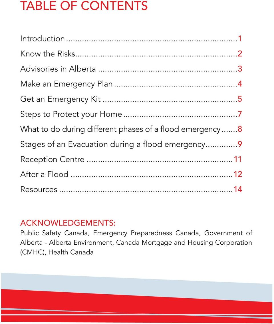 ..8 Stages of an Evacuation during a flood emergency...9 Reception Centre...11 After a Flood...12 Resources.