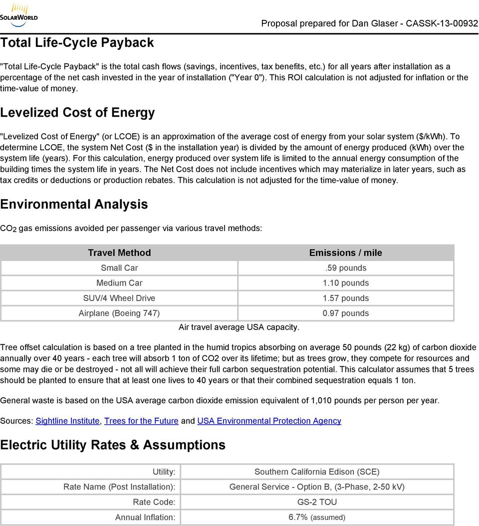 "Levelized Cost of Energy ""Levelized Cost of Energy"" (or LCOE) is an approximation of the average cost of energy from your solar system ($/kwh)."