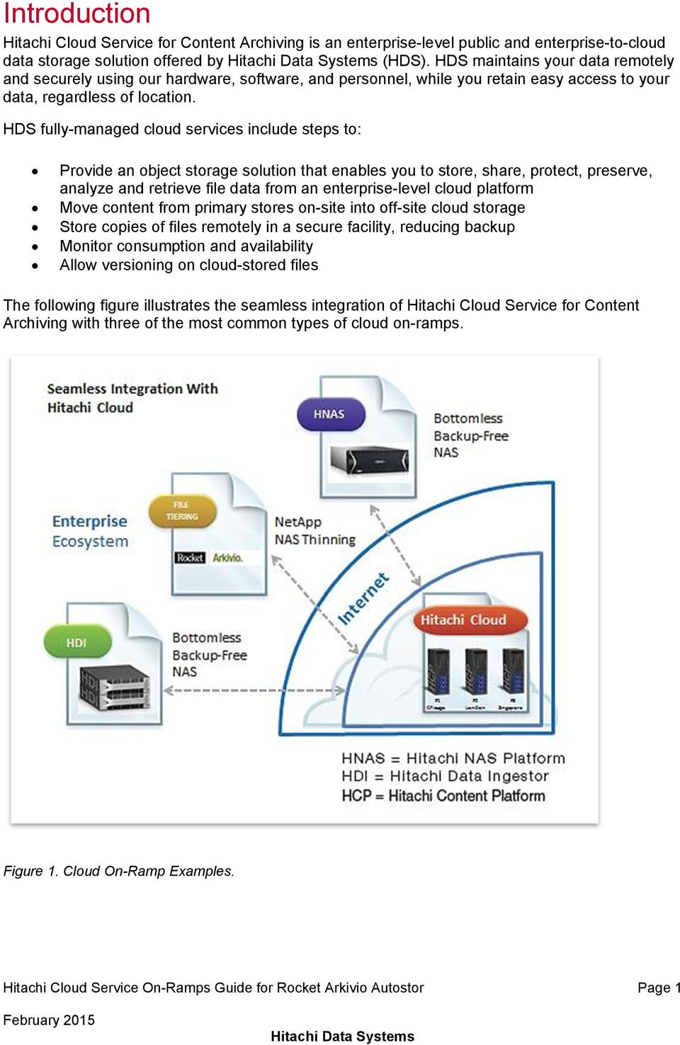 HDS fully-managed cloud services include steps to: Provide an object storage solution that enables you to store, share, protect, preserve, analyze and retrieve file data from an enterprise-level