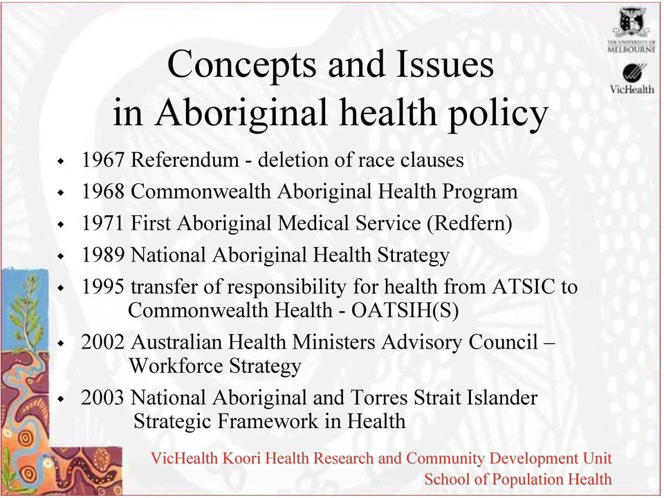 1995 transfer of responsibility for health from ATSIC to Commonwealth Health - OATSIH(S) 2002 Australian Health