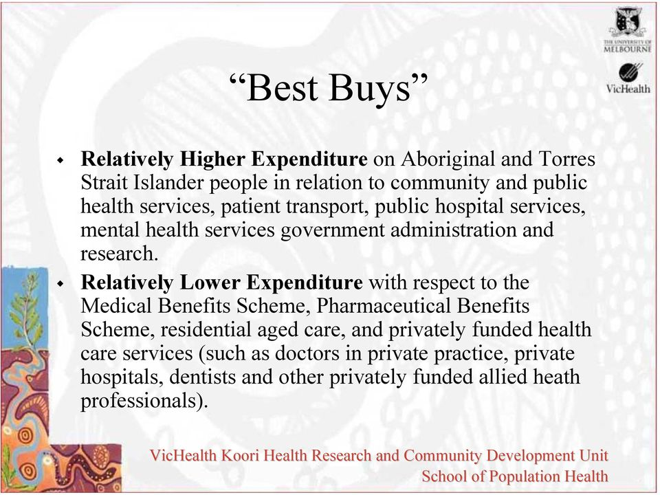 Relatively Lower Expenditure with respect to the Medical Benefits Scheme, Pharmaceutical Benefits Scheme, residential aged care, and