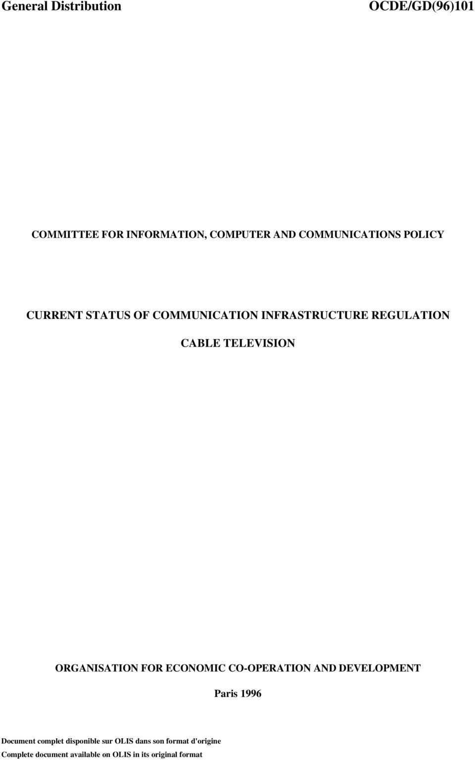 TELEVISION ORGANISATION FOR ECONOMIC CO-OPERATION AND DEVELOPMENT Paris 1996 Document