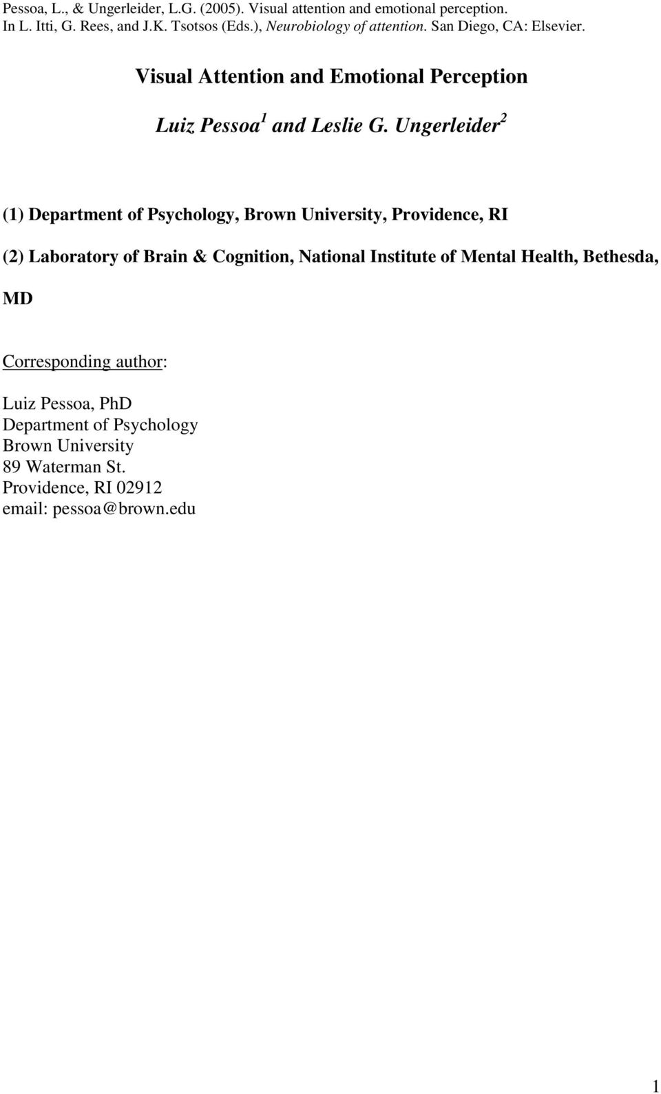 Brain & Cognition, National Institute of Mental Health, Bethesda, MD Corresponding author: