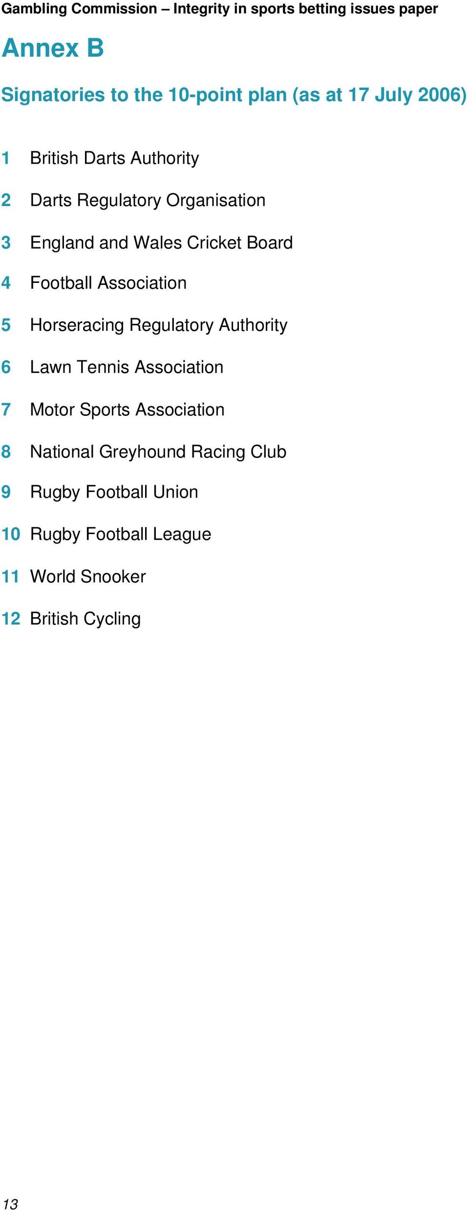 Regulatory Authority 6 Lawn Tennis Association 7 Motor Sports Association 8 National Greyhound