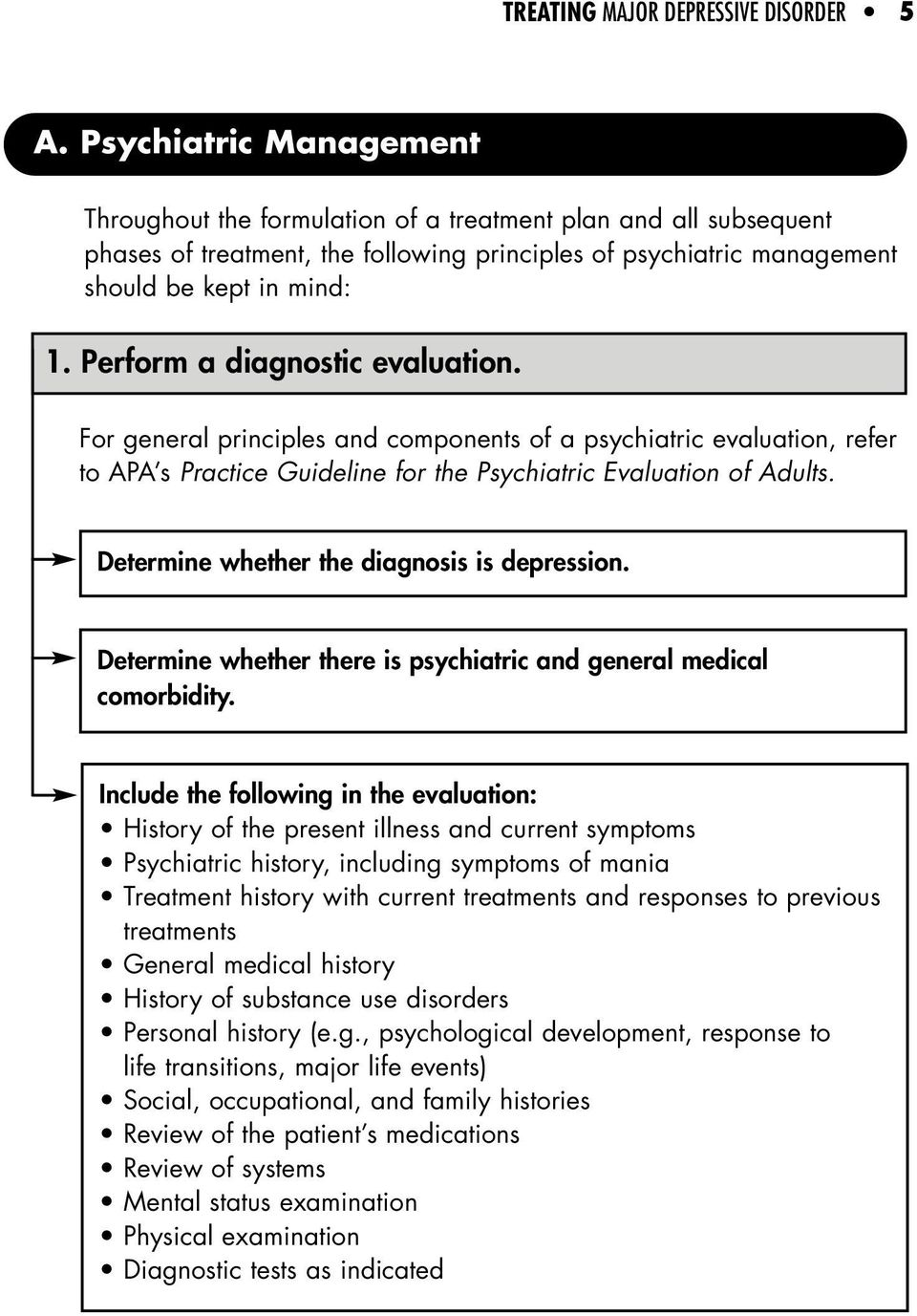Perform a diagnostic evaluation. For general principles and components of a psychiatric evaluation, refer to APA s Practice Guideline for the Psychiatric Evaluation of Adults.