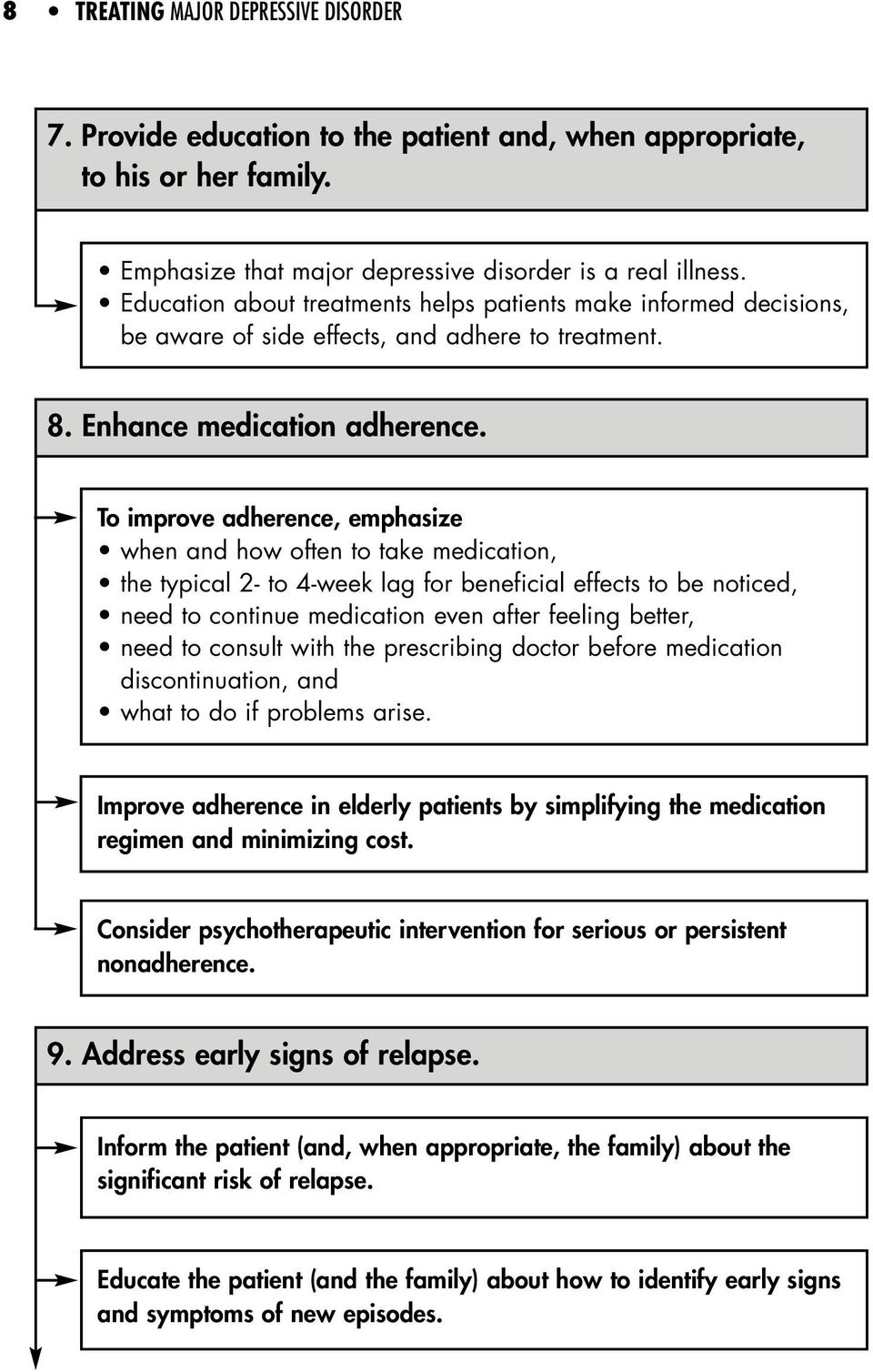 To improve adherence, emphasize when and how often to take medication, the typical 2- to 4-week lag for beneficial effects to be noticed, need to continue medication even after feeling better, need