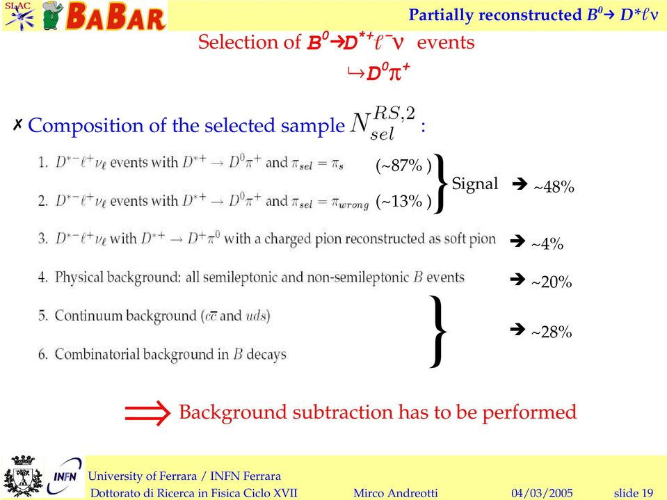 ~28% Background subtraction has to be performed Dottorato