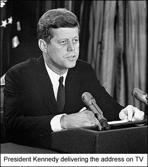Kennedy goes on national TV & demands Soviets remove missiles.