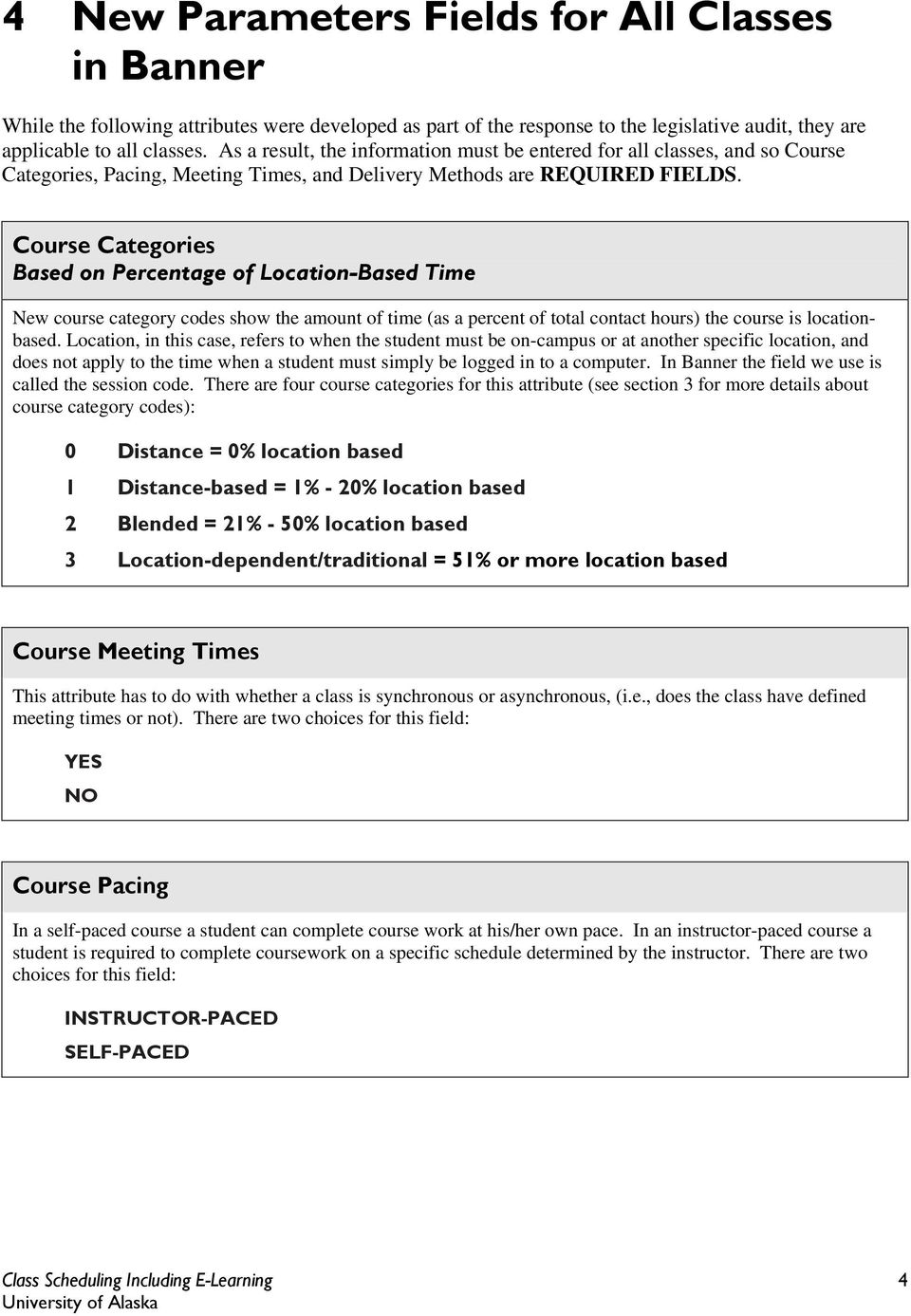 Course Categories Based on Percentage of Location-Based Time New course category codes show the amount of time (as a percent of total contact hours) the course is locationbased.