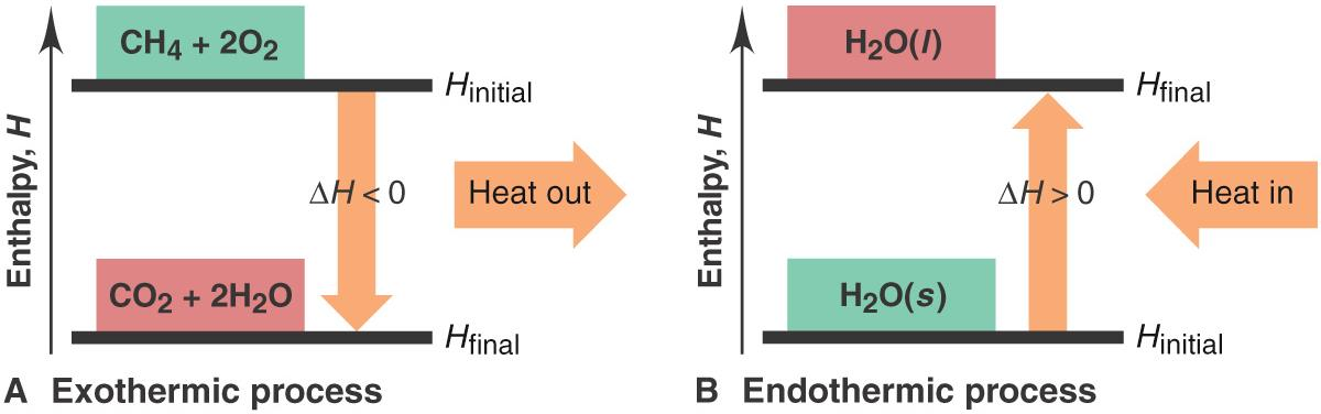 Exothermic and Endothermic Processes An Exothermic reaction releases heat (heat out) to surroundings with a decrease in system Enthalpy CH 4 (g) + 2O 2 CO 2 (g) + 2H 2 O(g) + heat Exothermic: H final