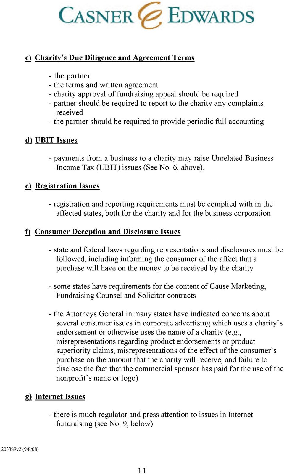 (UBIT) issues (See No. 6, above).