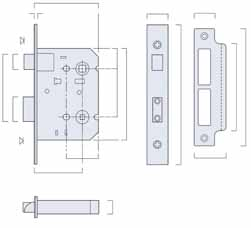 BRITON 5220 CYLINDER SASHLOCK Suitable for use on doors with lever furniture to withdraw the latchbolt Deadbolt can be operated from one side or both as required depending on the cylinder selected 79