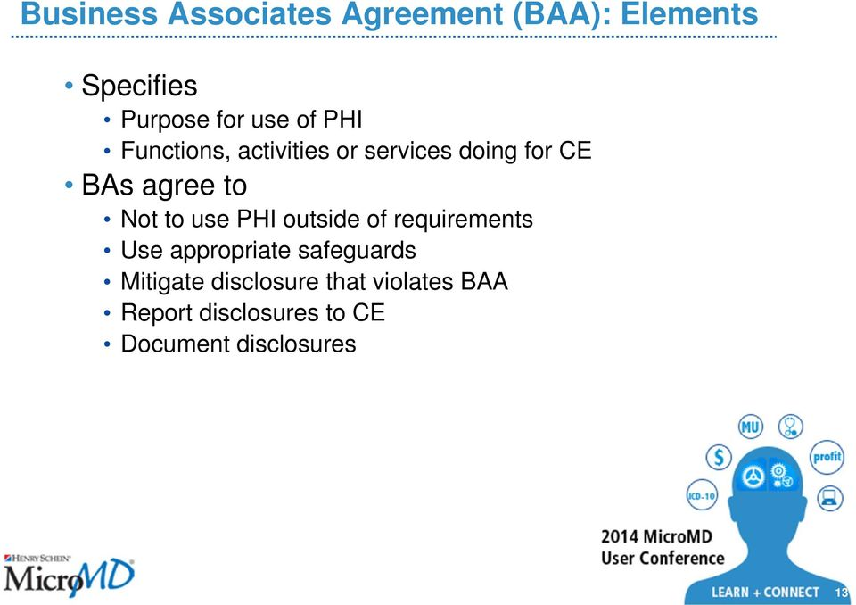 to use PHI outside of requirements Use appropriate safeguards Mitigate