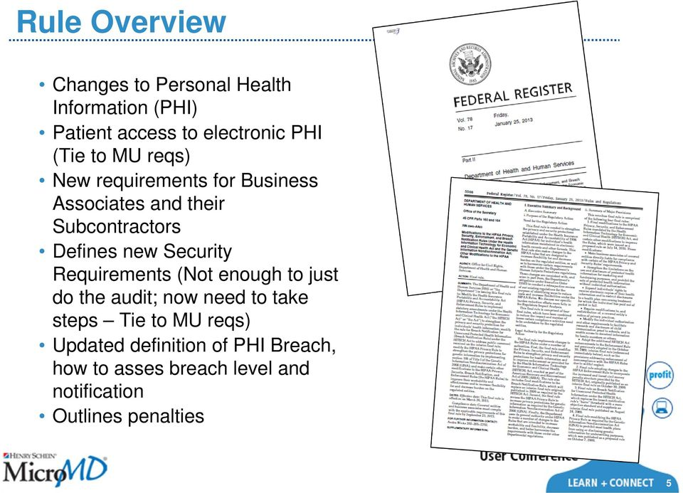 Security Requirements (Not enough to just do the audit; now need to take steps Tie to MU reqs)