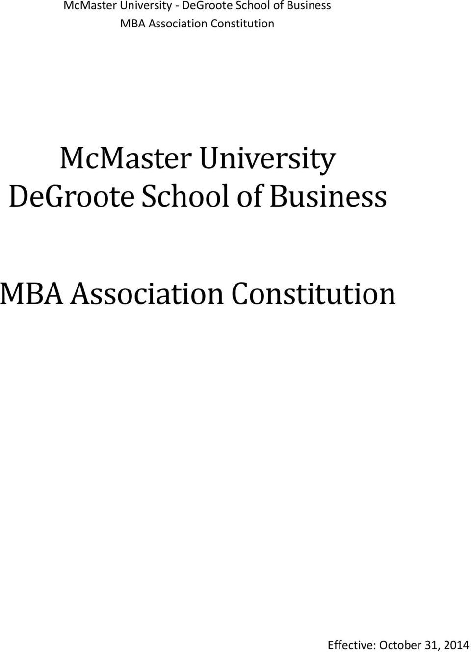 McMaster University DeGroote School of
