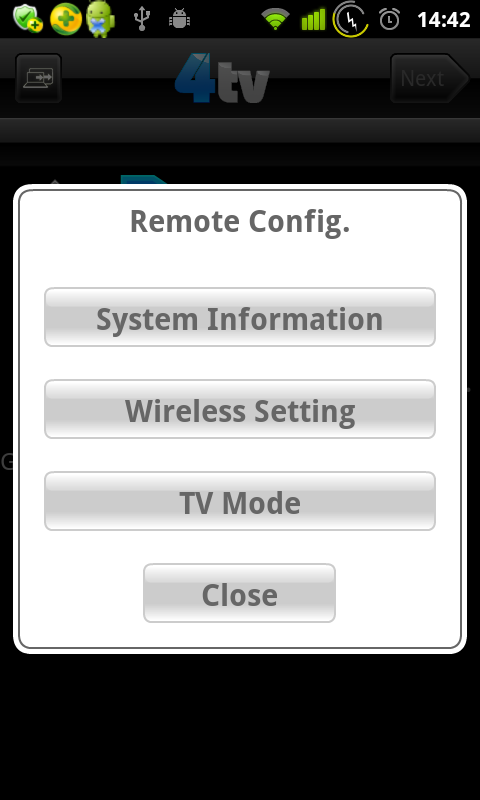 4TV Remote Configuration Wi-Bridge User Manual Wi-Bridge Android Control Application On the 4TV Control screen, you can tap on the 4TV Remote Configuration item to open the Remote Setting window.