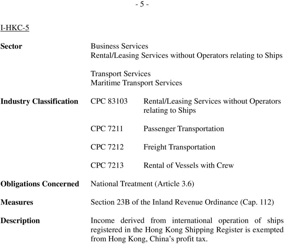 Transportation Freight Transportation Rental of Vessels with Crew Obligations Concerned Measures Section 23B of the Inland Revenue Ordinance