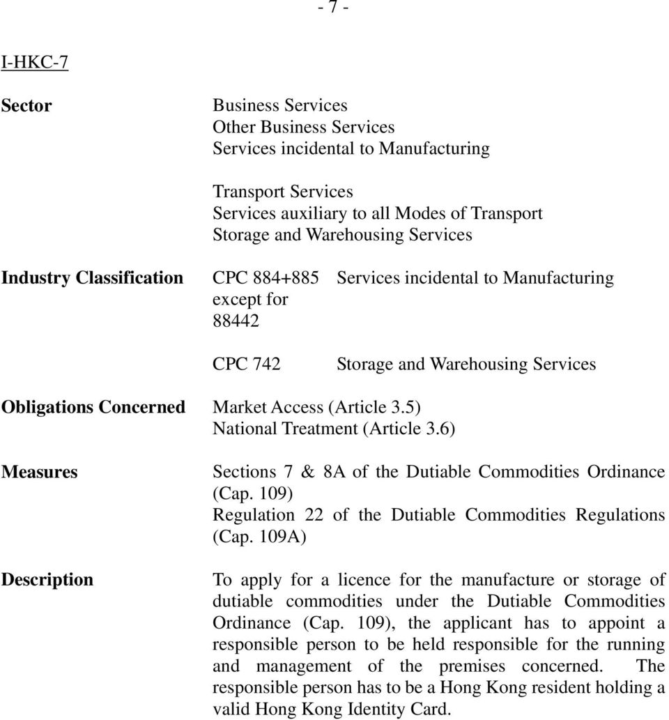 109) Regulation 22 of the Dutiable Commodities Regulations (Cap. 109A) To apply for a licence for the manufacture or storage of dutiable commodities under the Dutiable Commodities Ordinance (Cap.