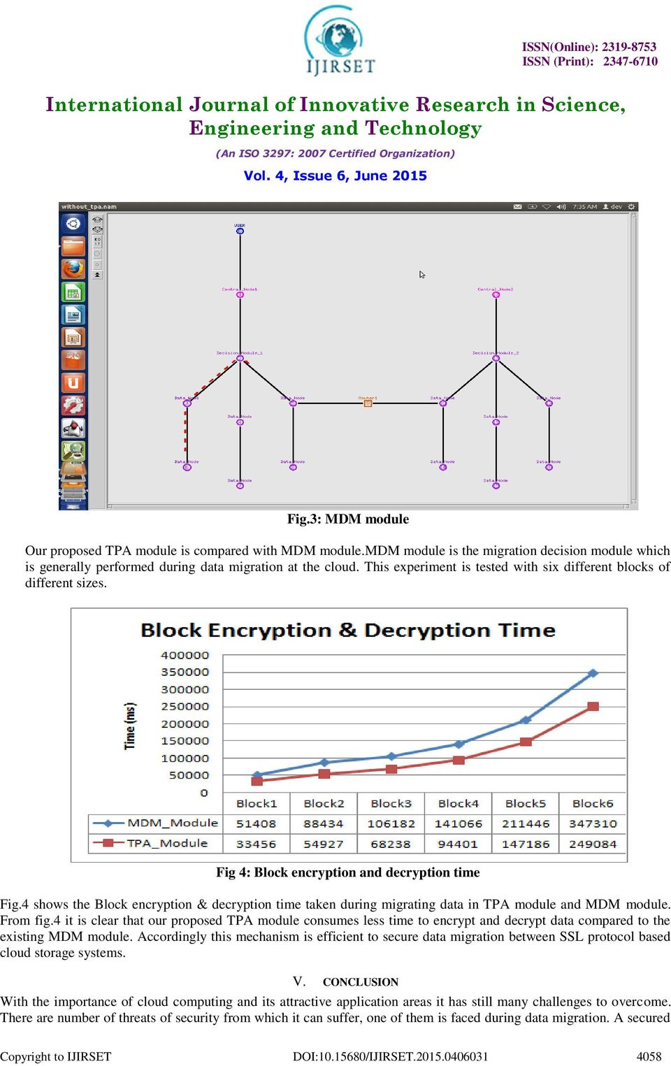 4 shows the Block encryption & decryption time taken during migrating data in TPA module and MDM module. From fig.
