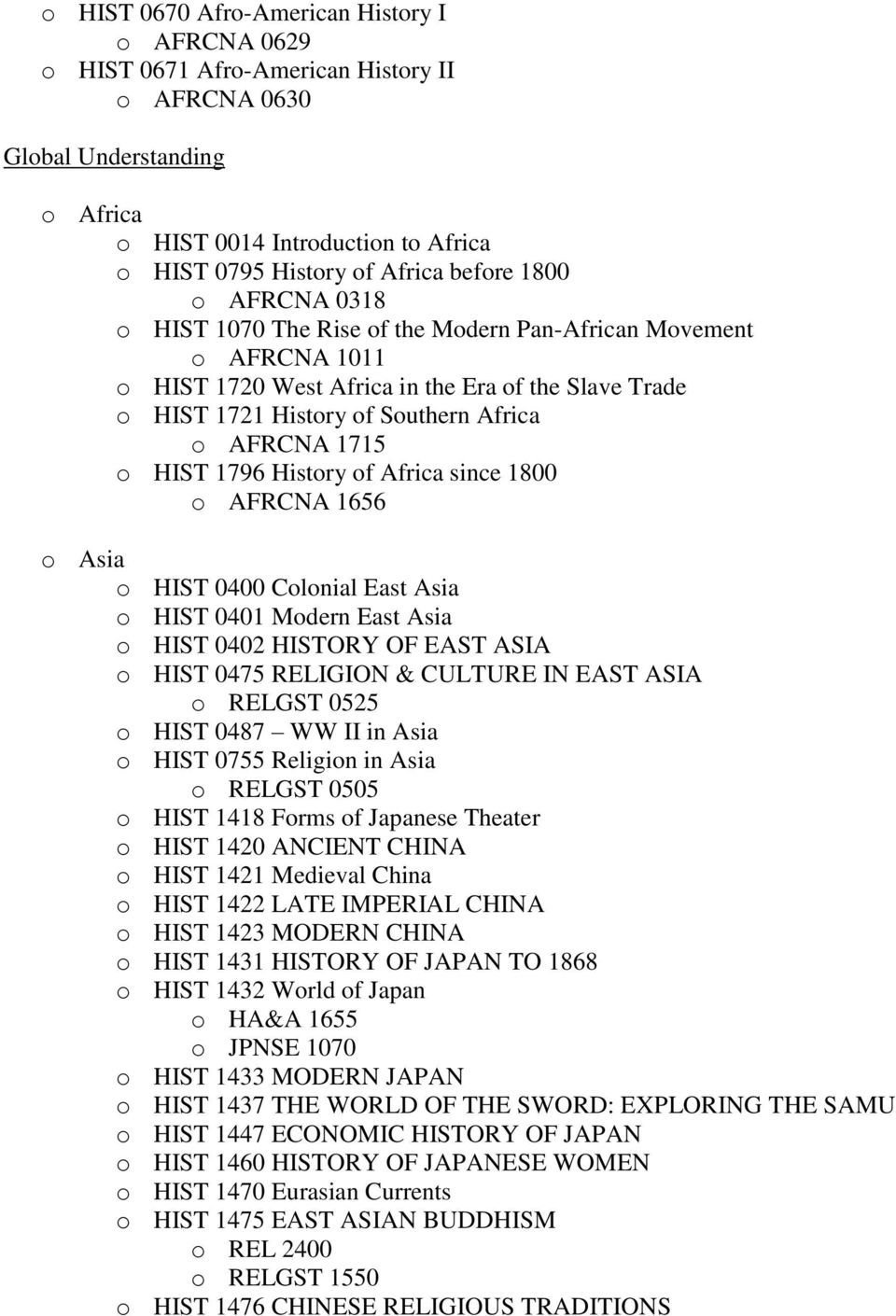 1715 o HIST 1796 History of Africa since 1800 o AFRCNA 1656 o Asia o HIST 0400 Colonial East Asia o HIST 0401 Modern East Asia o HIST 0402 HISTORY OF EAST ASIA o HIST 0475 RELIGION & CULTURE IN EAST