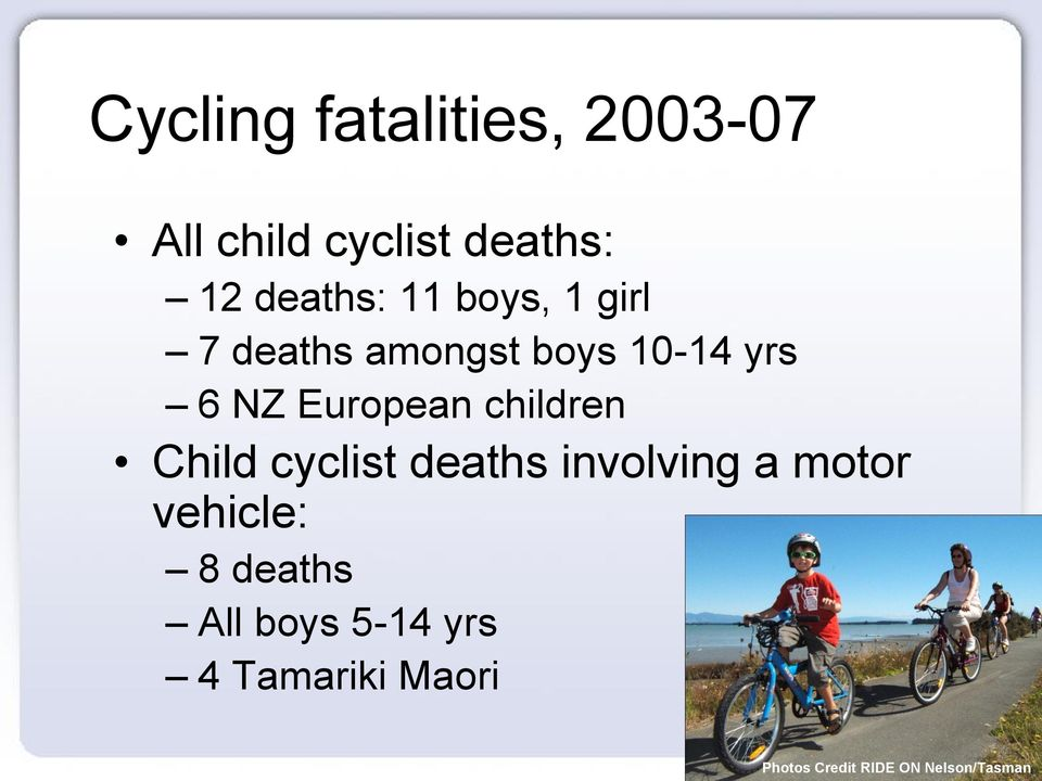 children Child cyclist deaths involving a motor vehicle: 8 deaths