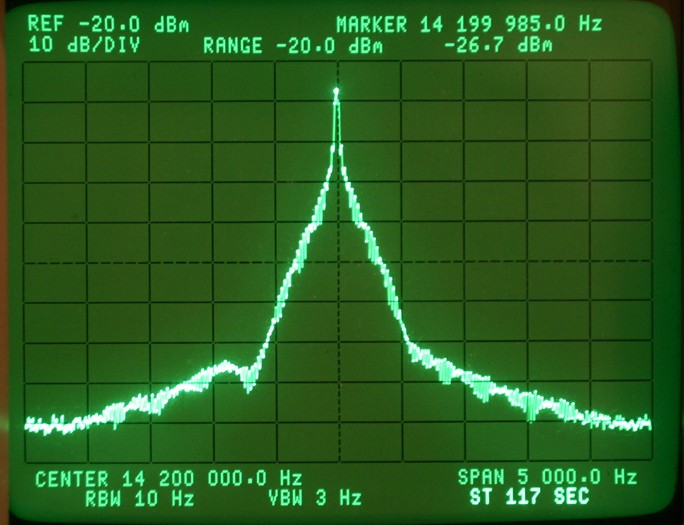 Spectrum of CW Signal on HP 3585A Analyzer Rise Time 3