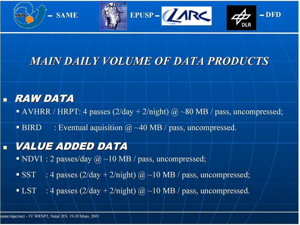 VALUE ADDED DATA NDVI : 2 passes/day @ ~10 MB / pass, uncompressed; SST LST : 4 passes