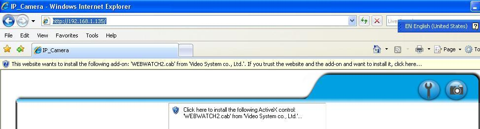D. Install ActiveX control: 1. To users of IE 6.0 above: For the first time to view the camera video via IE, it will ask you to install the ActiveX component. 1. If the installation failed, please check the security setting for the IE browser.