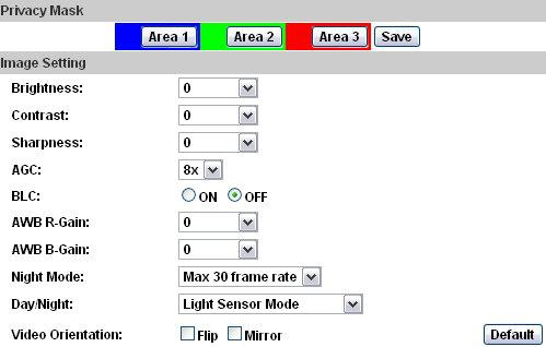 C. A/V Setting 1. Image Setting For security and privacy purposes, there are three areas that can be set up for privacy. Click the Area button first, and then drag an area on the above image.