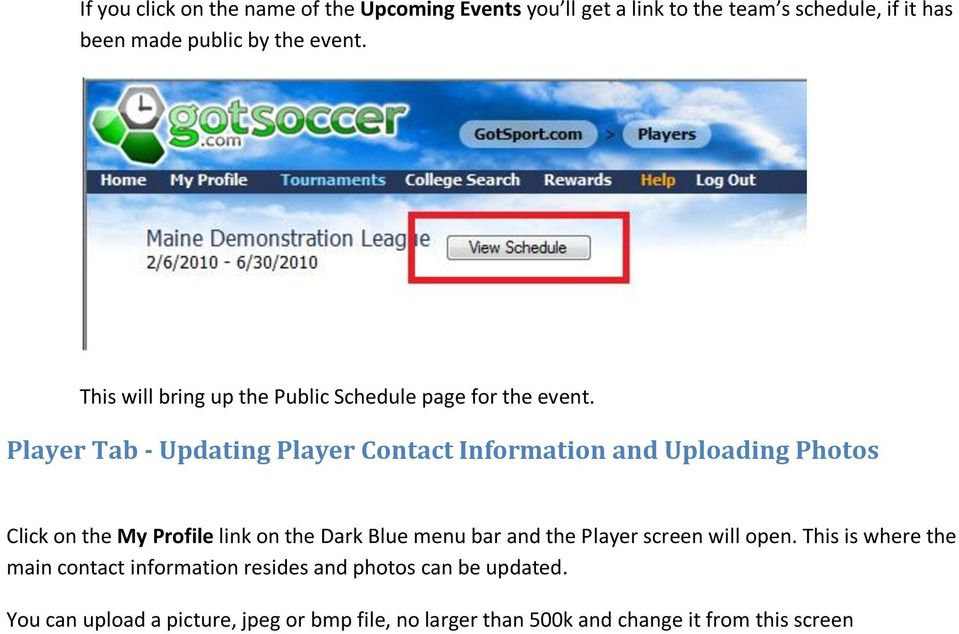 Player Tab - Updating Player Contact Information and Uploading Photos Click on the My Profile link on the Dark Blue menu bar and