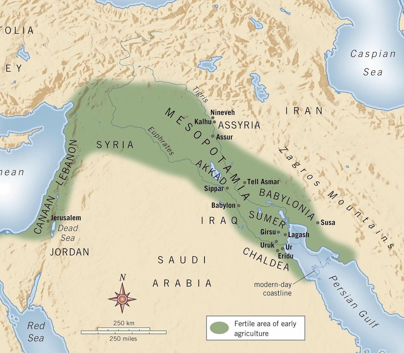 36. Region within the Middle East (Fertile Crescent ) that lies between the Tigris and Euphrates