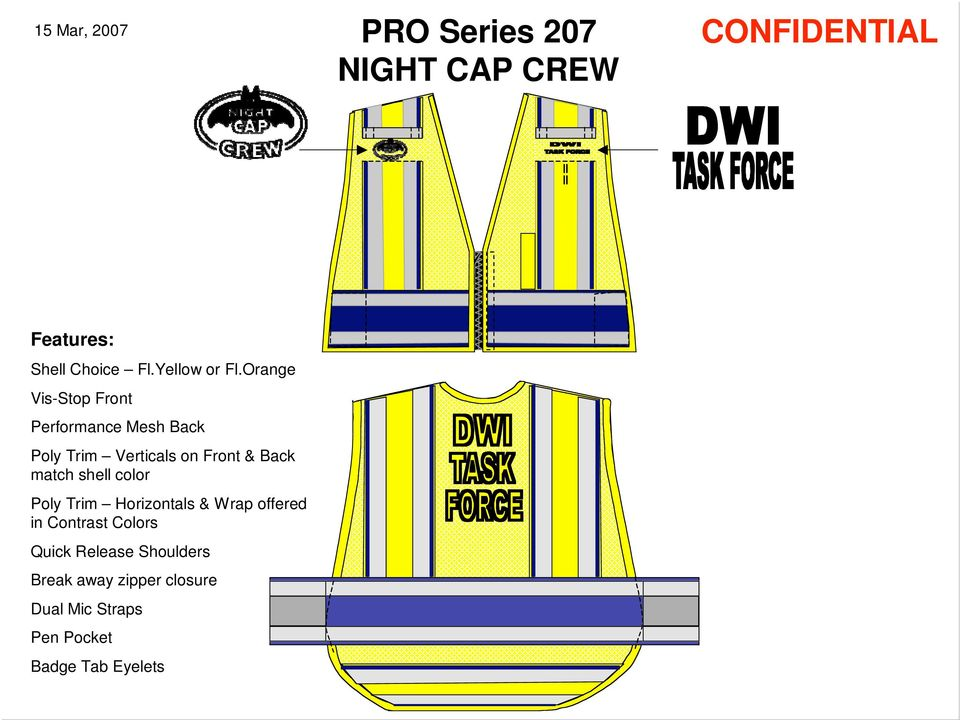Orange Vis-Stop Front Performance Mesh Back Poly Trim Verticals on Front & Back match