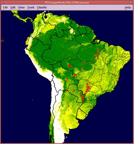 DEFORESTATION DYNAMICS IN THE SOUTHERN AMAZON DERIVED FROM AVHRR 8KM DATA 800 km Early 1980s Tree