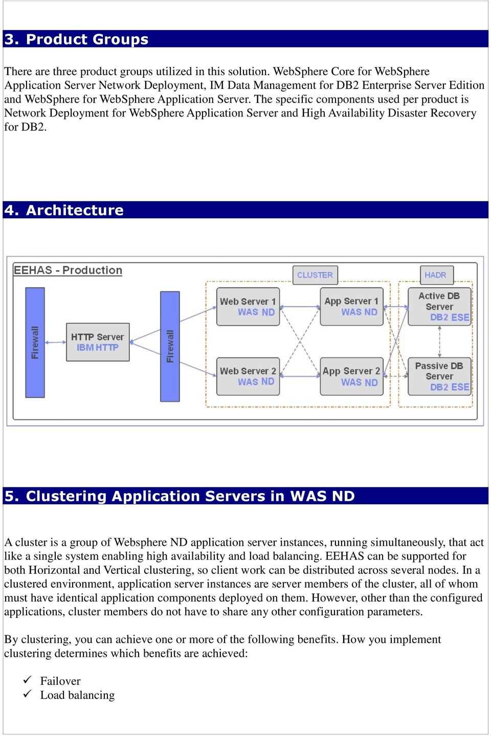 The specific components used per product is Network Deployment for WebSphere Application Server and High Availability Disaster Recovery for DB2. 4. Architecture 5.