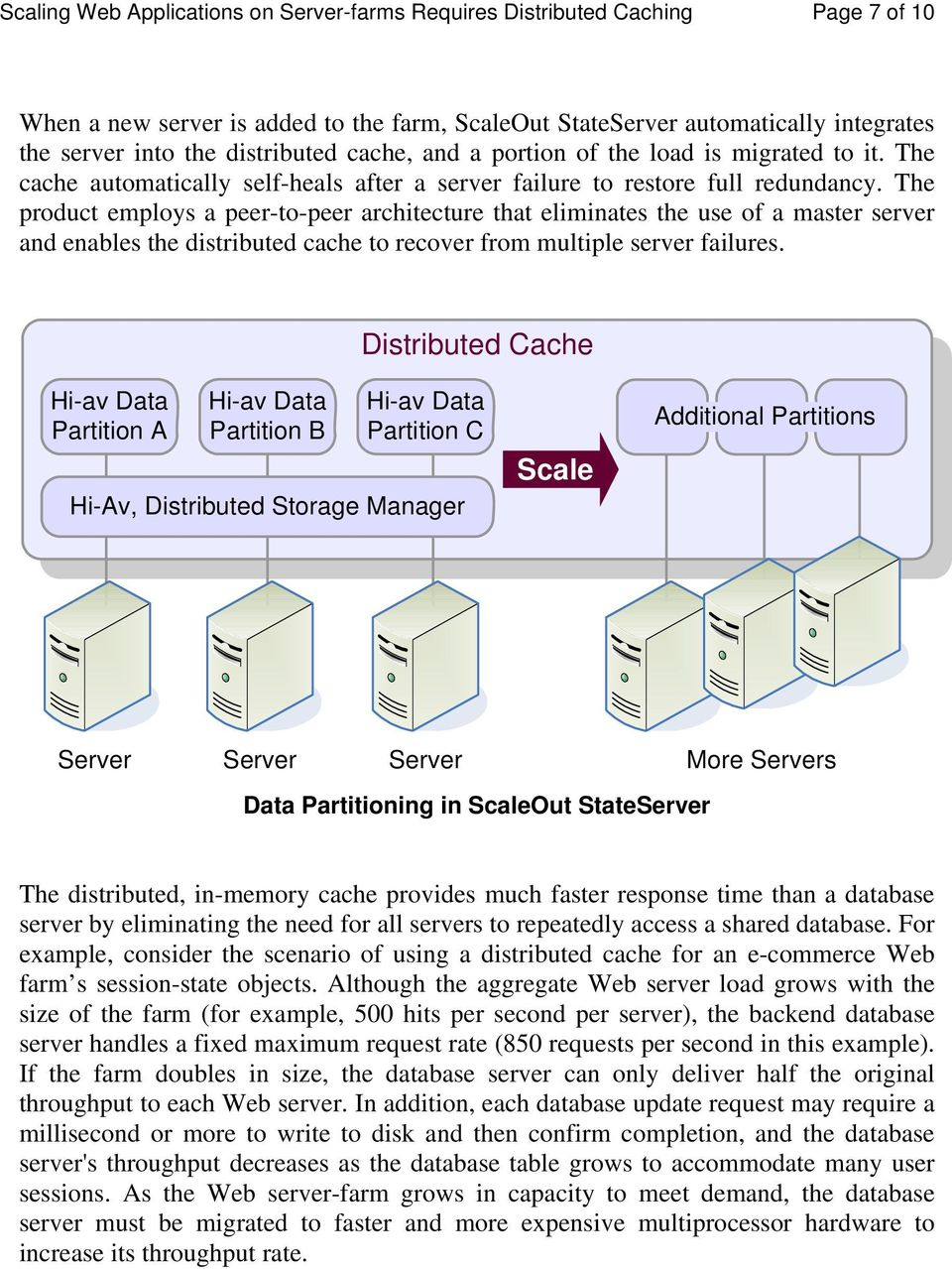 The product employs a peer-to-peer architecture that eliminates the use of a master server and enables the distributed cache to recover from multiple server failures.